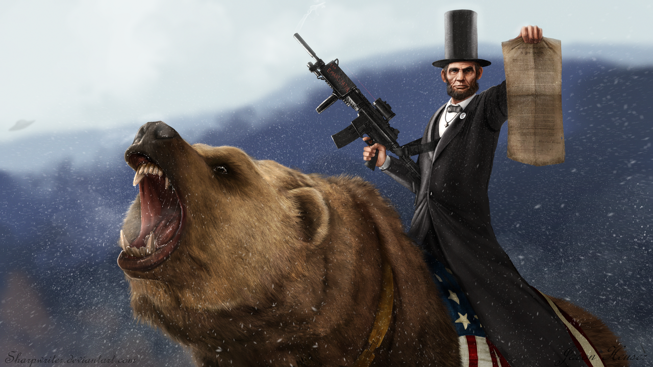 Lincoln Riding a Bear