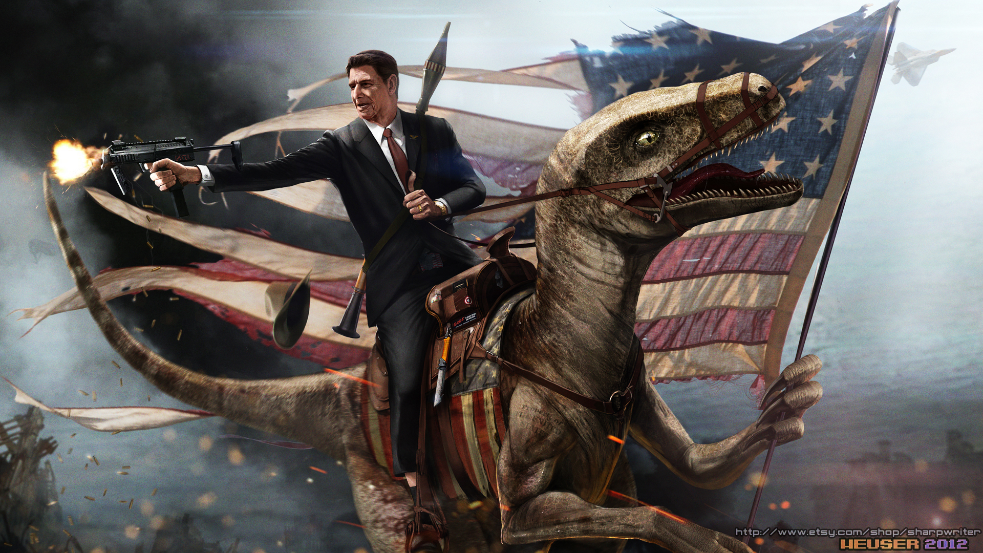 Reagan Riding a Raptor
